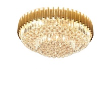 Fashion gold round chinese crystal ceiling chandelier lamp for beddromm