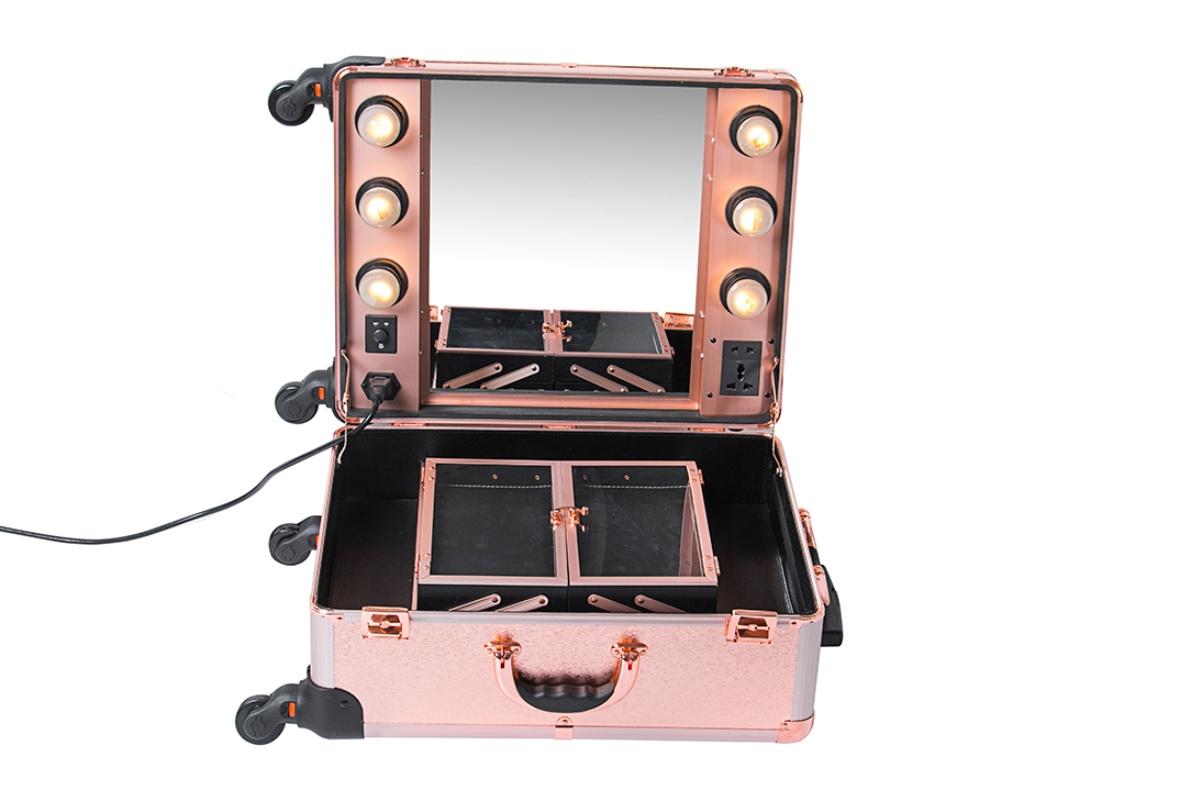 Professional makeup case empty cosmetic case with mirror PVC makeup case with lights