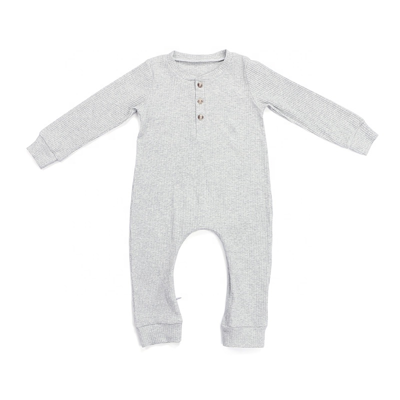 Spring Invisible Zipper Crotch Organic Cotton Ribbed Newborn Clothes Baby Romper