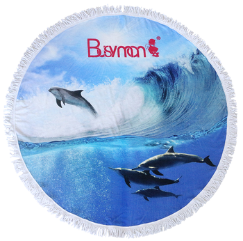 Customized Logo Shark Towel Round 100% Cotton Beach Towel