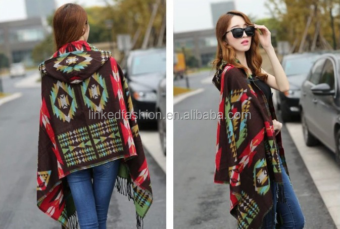 2019 NEW Women Winter Boho Hooded Coat Cape Poncho ladies Shawls wrap female Pashmina plaid cashmere blanket scarf Bufanda Mujer