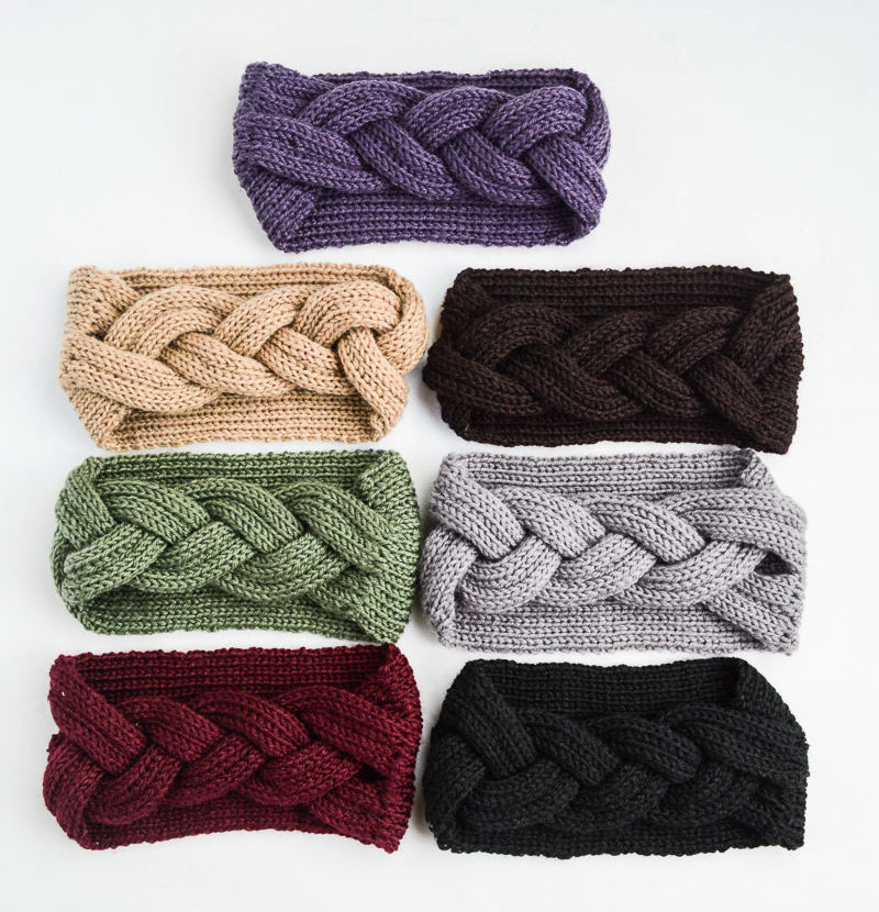 2019 Big Bow Fish Bones Winter Girl Knit <strong>Headbands</strong> Warm Crochet Elastic Hair Band Handmade Turban Wide Size Headwear
