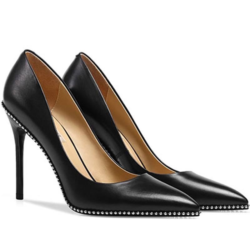 2019 High Heel Stiletto Women's Pumps Black Genuine Leather x19-<strong>c002</strong> Ladies women Wedding Sexy Shoes Heels For Lady