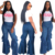 Wholesale Sexy Solid Women Flare Jeans Pants High Waist Bell Bottom Wide Leg Ladies Denim Jeans