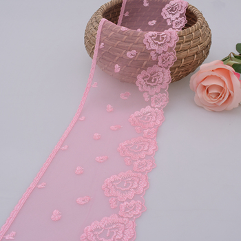 Pink guipure embroidery lace trim