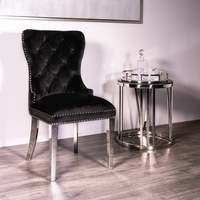 Diningzhi Europe's best selling pull brass nail pull velvet linen synthetic leather Hotel dining chair