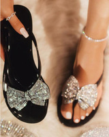 Hot sale pinch bow jelly sandals and slippers fashion women diamond slippers