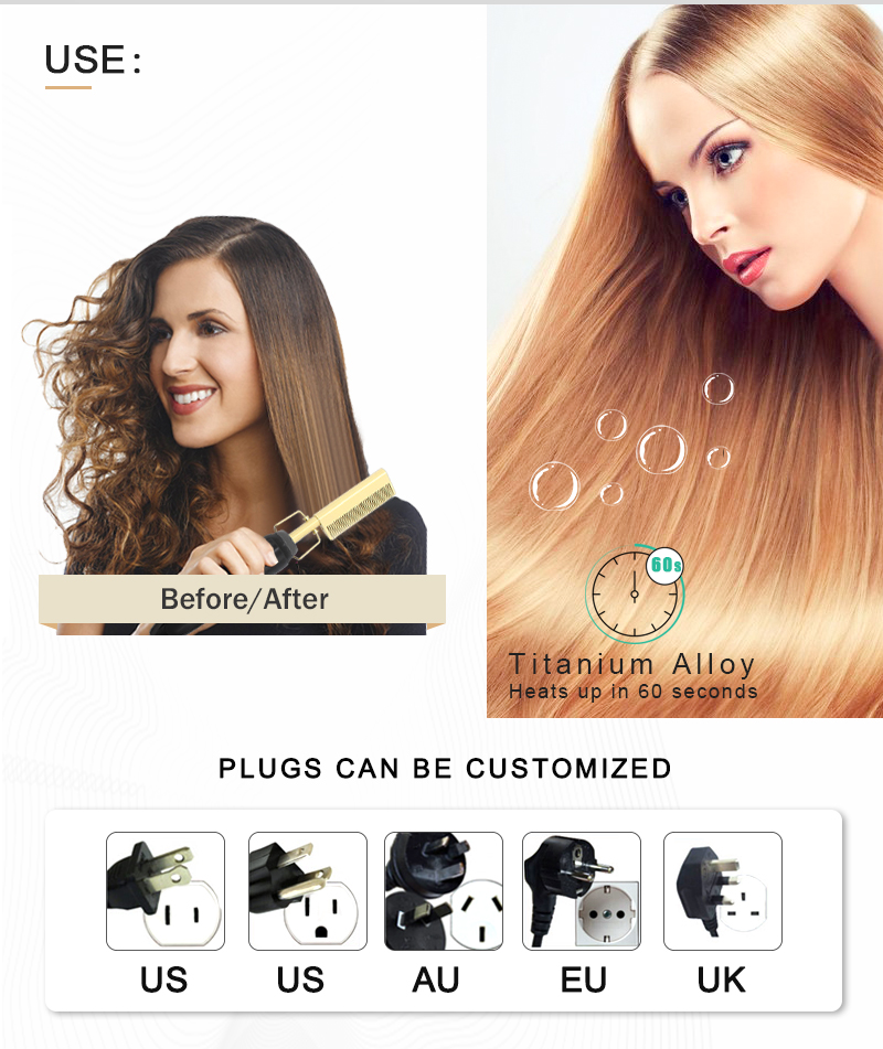 Wet And Dry Use Hot Comb Flat Iron Hair Straightener Hot Comb