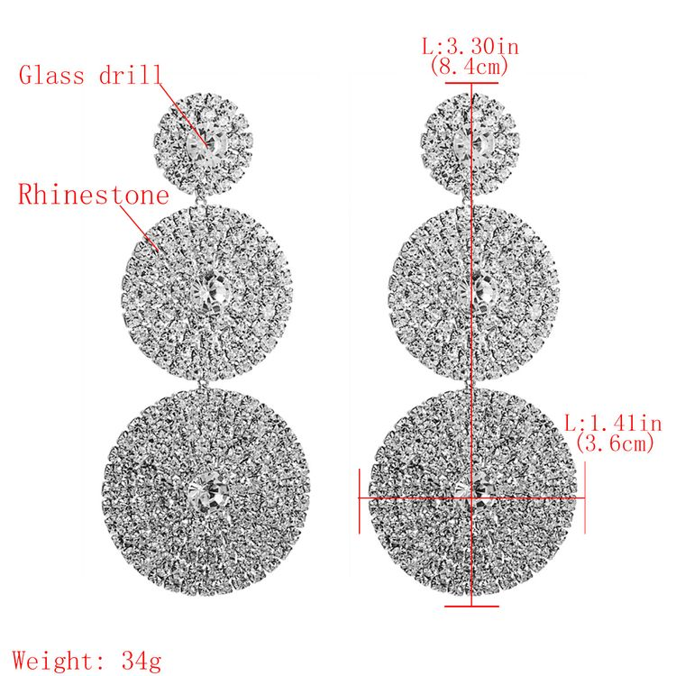 2020 Three Round Shape Statement Earrings Full Rhinestone Drop Earrings For Women
