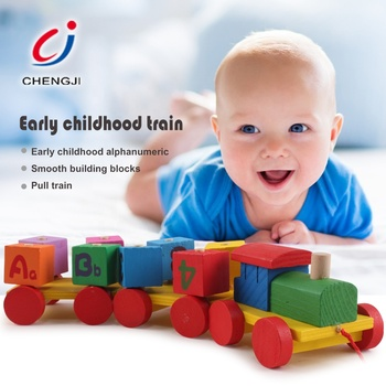 Baby alphabet education block sorting stacking shape color wooden toy set train
