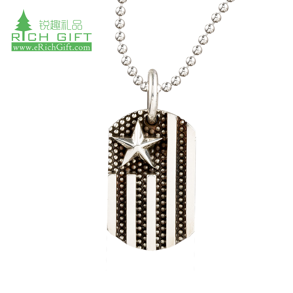 Hot sale custom aluminum <strong>alloy</strong> 3d laser engrave number america dog tags Necklace with 72cm Ball Chain for men