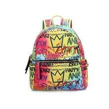 BP997 Fashion Handles Vendors Zipper Women Shoulder <strong>Bag</strong> Graffiti Pu Leather Backpack
