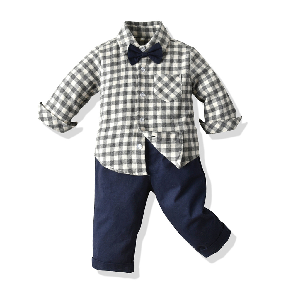 Wholesale boys formal clothing 2pcs Toddler Boys shirt pant set long sleeve Kids Clothes