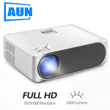 AUN AKEY6 5.8 inch 5500 Lumens 1920x1080P Portable HD LED <strong>Projector</strong> with Remote Control, Support USB / SD Card / AV / VGA / RJ45