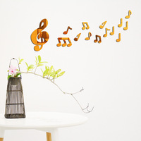 Stylish Happy Music Notes Acrylic Mirror Carved 3D Wall Stickers Embossed Effect Home Decoration