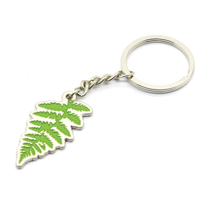 New exquisite Custom Enamel Logo Metal leaf shaped  Keychain