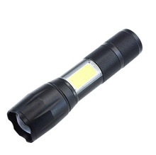 18650 powered <strong>Cree</strong> T6 inside 2 in 1 Rechargeable USB Flashlight with Side COB Camping Flood Light
