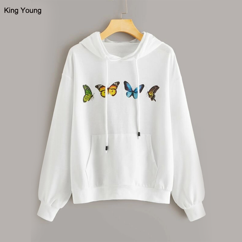 ky white wholesale OEM private label hoodies good quality french terry butterfly 3D print lady women hoodie 2019