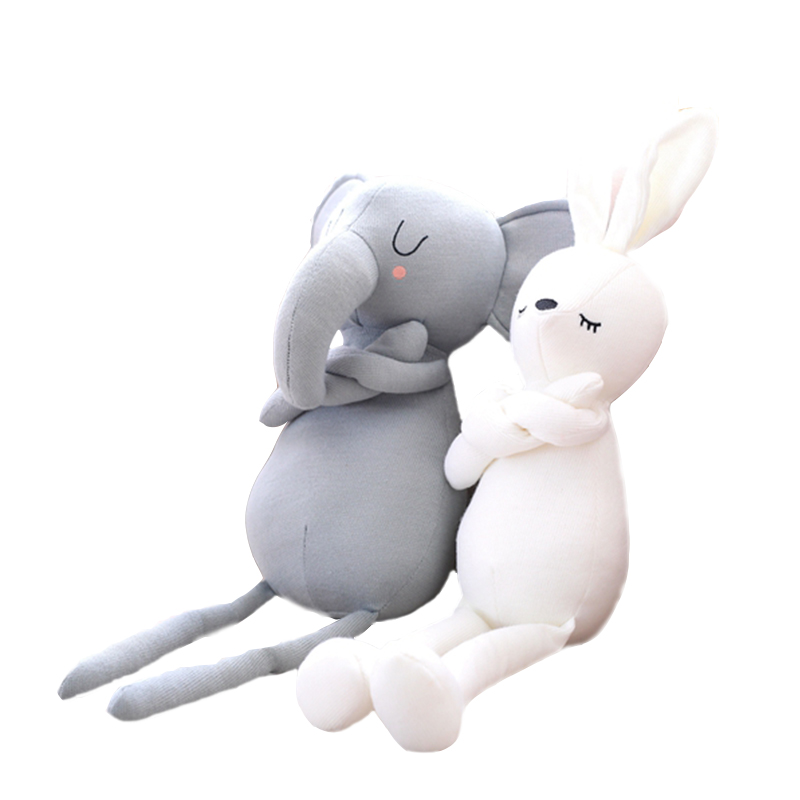 Stuffed <strong>Rabbit</strong> Elephant Knitted Fabric Soft Toy Girls Boys Animal Dolls Birthday Gift for Kids Girl Toy