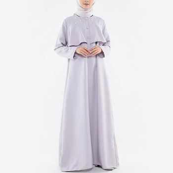 New Arrival Linen Girls Abaya With Design Women Jubah