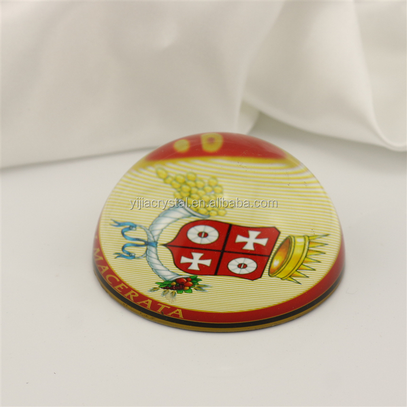 optical crystal paperweight/K9 crystal glass paper weight with color imprinting customized images/Dome Shape Glass Paper Weight