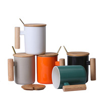 New sale gift coffee mug set custom logo wooden handle tumbler cups ceramic coffee mugs with lid and spoon 301-400ml