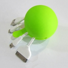 Mini multi-function 3 in 1 USB data line ball 1 drag 3 data line silicone bag data line