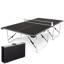 Folding table tennis table with pulley