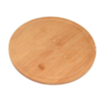 Creative Convenient Natural <strong>Flat</strong> Leak-Proof Juice Thickened Multifunctional Round Shape Bamboo Pizza Tray Cutting Board
