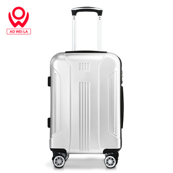 Aoweila 20 inch Silver Stripe wear-resistant suitcase, custom logo trend Chinese factory luggage