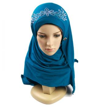 Custom design classic arab muslim cotton jersey hijab shawl sexy women hijab scarf with stones for muslim women