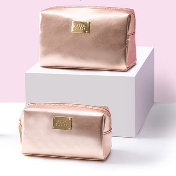 Simple style Rose gold color cosmetic bag  women shiny  pu travel bag