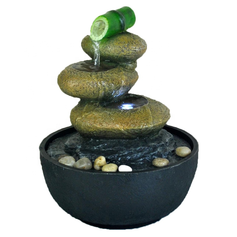 Water Fountain Bamboo Tabletop Relaxing Indoor Desk Office decor