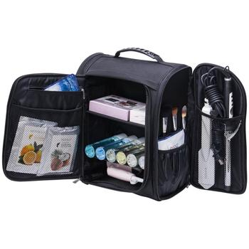 Multifunctional Travel Makeup Bag Nylon Cosmetic Backpack with mesh pocket KC-ZU03B