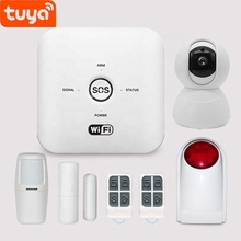 Hot 4G Tuya Smart Wifi+GSM Mini Alarm System With Tuya Socket white 433MHz big SOS 9-12V