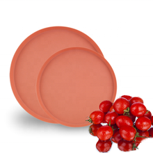 High quality custom bulk cheap bio colored reusable round bamboo fiber dinner <strong>plate</strong> modern for food wholesale