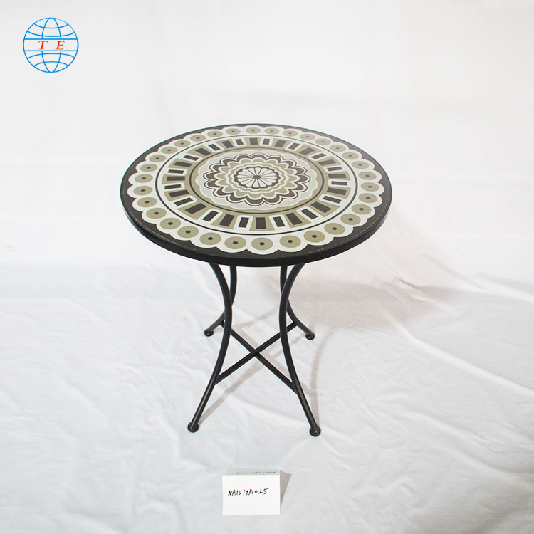 New model unique outdoor leisure living room furniture ,cheap outdoor mosaic metal table