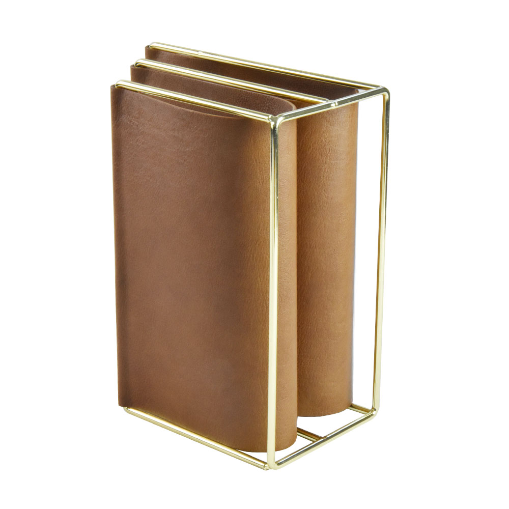 brown iron and faux leather magazine rack holder