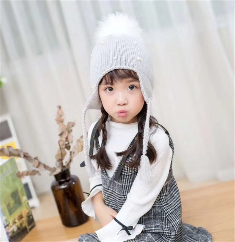 Kids Baby Girls Boys Pom Pom Hat Baby Winter Hat Pearl Braid Beanie Hat Warm Knit Fur Pom Bobble <strong>Cap</strong>