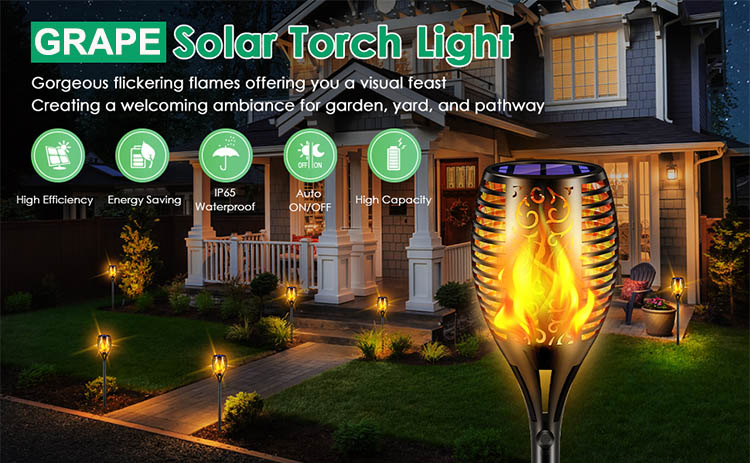 Grape 96 led 1.2 ah lithium battery 0.88 watt solar panel Outdoor ip65 Garden Patio Yard 1 2 4 Pack Flame Lights Torches Lamp