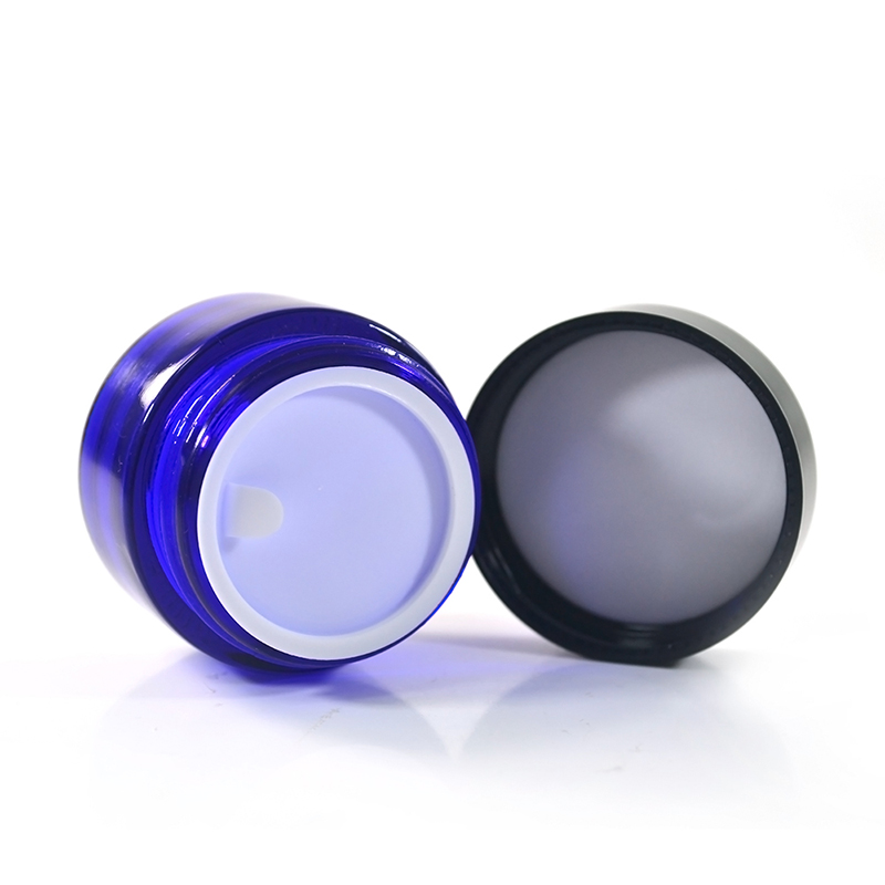 New product 20g 30g 50g 100g 50ml blue luxury face glass cosmetic cream jars