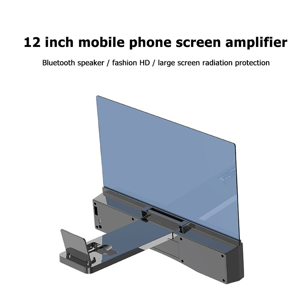 F12 mobile phone screen magnifying glass 3D magnified video 12-inch amplifier projector stand desktop with bluetooth audio