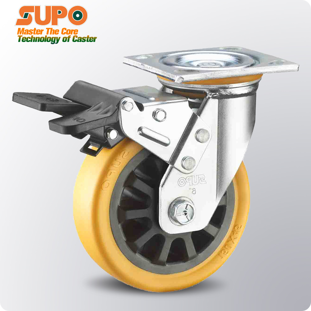 industrial caster <strong>wheel</strong> 4inch 5inch 6inch 8inch Galvanized Total lock brake double bearing Orange PU heavy duty caster <strong>wheels</strong>