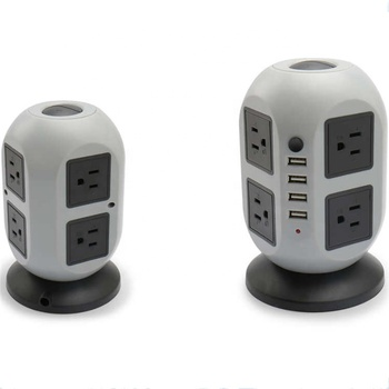 8 Outlets USB Multiple Extension Plug Vertical Socket
