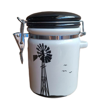 Wholesale white and black ceramic canisters with metal clip tea sugar coffee storages food <strong>containers</strong>