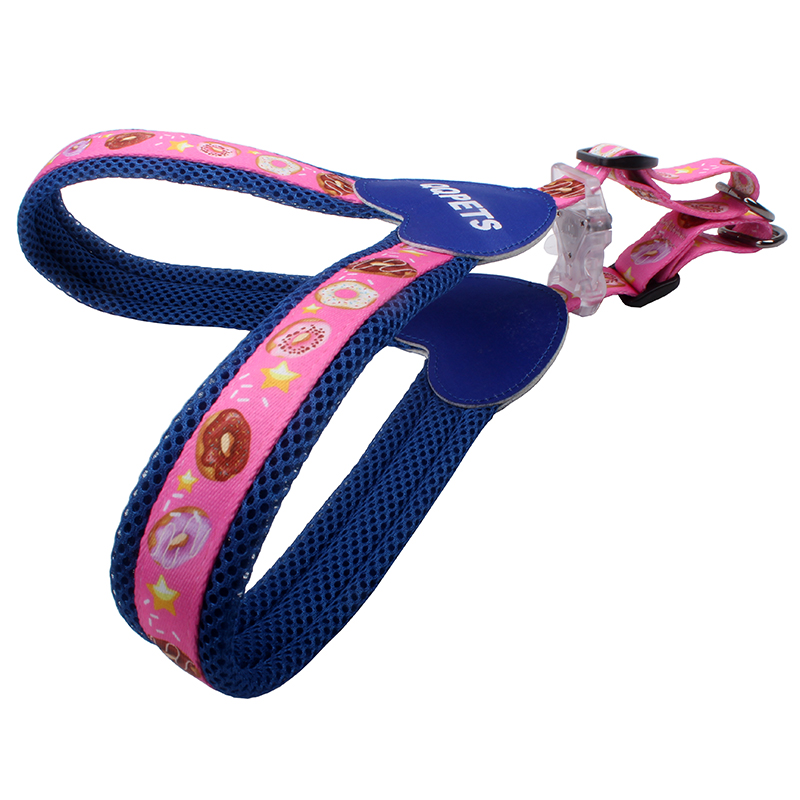Stylish LED Buckle Polyester Mesh Soft Pet Dog Harness Free Design Private Label Custom