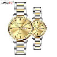 LONGBO 80555 Women Men Quartz Wrist Watch For Lovers Stainless Steel Auto Date Calendar Business Couple Watches
