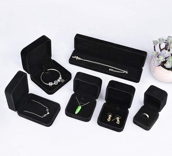 Custom Black Velvet Jewelry Box Set, jewelry 6 Pieces Jewelry Gift Box for Necklace Bracelet Bangle Earring Ring