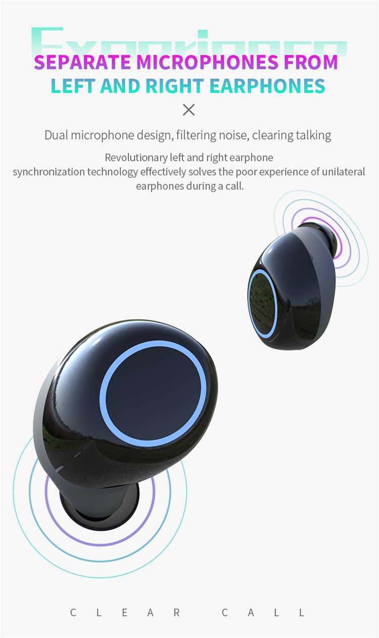 AL-BE0001 Silicone Ear plugs Active Noise Canceling Earphones Ear buds Oem Watch Bluetooth Led Earphone