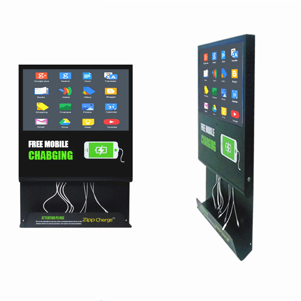21.5inch indoor freestand LCD <strong>advertising</strong> with mobile phone charging station ,21.5inch original lcd digital signage screen